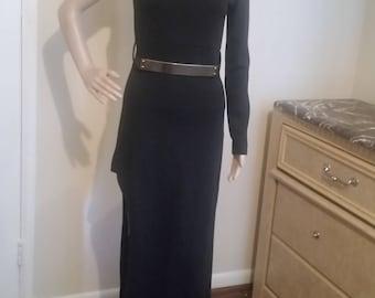Black belted side cut maxi dress