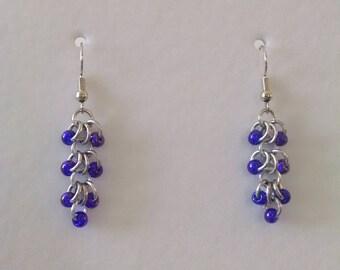 Purple Beaded Iridescent Ring Earrings