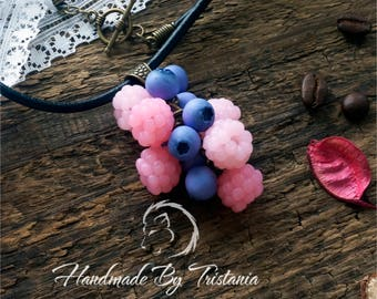 Berries pendant jewelry of polymer clay pink raspberries bracelet blueberries pendent idea gifts necklace with berries handmade