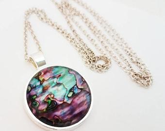 Abalone Seashell Necklace Glass Cabochon Jewelry Mermaid Pendant Purple Turquoise Photo