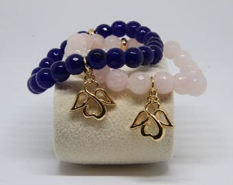 Your little angel - rose quartz or agate beads bracelet for a friend, mom/mom to be