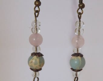 Rose quartz and serpentine drop earrings