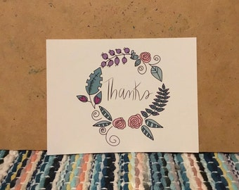 Set of 5, 10 or 20 Cards: Thank You Card, Thanks Card, Greeting Card, Card, Blank Card, Thank You, Handmade, Thanks, Cards, Botanical Wreath