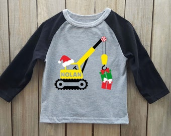 Boys Christmas shirt, crane shirt, Kids Christmas shirt, toddler christmas shirt, construction christmas shirt, construction shirt