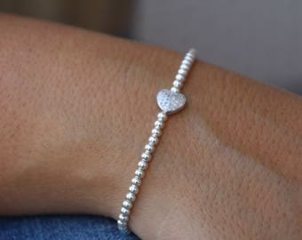 Silver Bracelet, 925 sterling silver bracelet, Heart Bracelet, Beaded Bracelet, Sterling silver heart bracelet, Friendship Bracelet