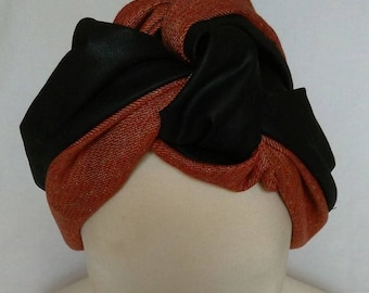Turban, Reversible Turban, Made in Italy, Woman Hat, Fashion Turban,Fashion Hat,Knot Turban,Fabric Bow Turban, Headband Knot, Head Wrap