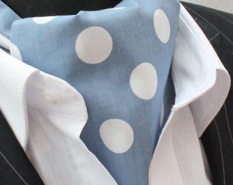 Cravat Ascot UK Made Faded Denim Blue POLKA DOT.Premium Cotton.