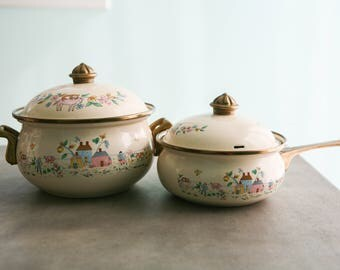 Vintage International Heartland Pattern Saucepan and Casserole Dish with brass handles- set of Two