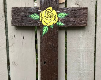 Yellow Rose Reclaimed Wood Cross