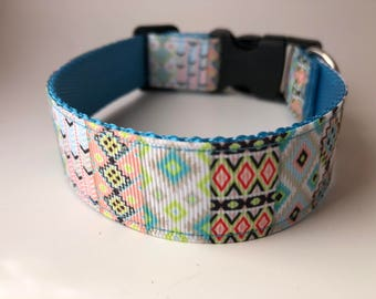 "Handcrafted 1"" Aztec/Tribal Dog Collar"