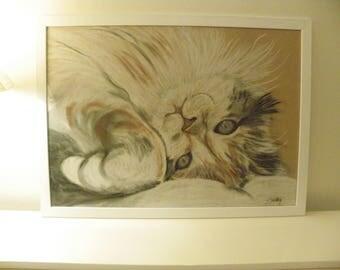Large framed cat portrait