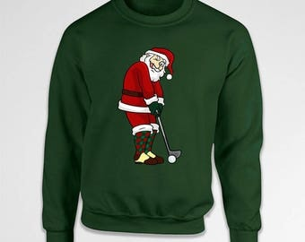 Funny Santa Sweater Golfer Gifts For Him Christmas Presents Golfing Apparel Holiday Outfit Xmas Hoodie Christmas Clothing X-Mas TEP-571