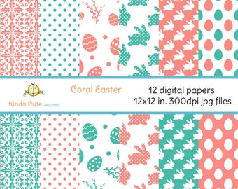 Set of 12 digital papers for easter. Coral and green colors with easter eggs, rabbits, dots and floral pattern.