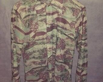 Adorable Women's 1970s Multi-Color Landscape Long-Sleeve Shirt Size M