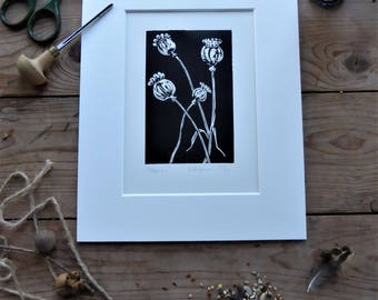 Poppies, Seedheads. Limited edition linoprint with mount. Black and white design.