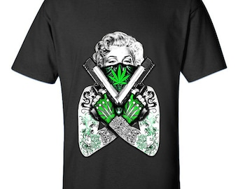 Marilyn Monroe Weed Leaf Tattoo Guns High Marijuana 420 Friendly Designed Cotton Men Size Unisex T-Shirts for Men and Women