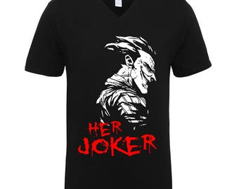 Her Joker Couple Clothing Adult Unisex T-Shirts Men Size V Neck Tee Shirts for Men and Women