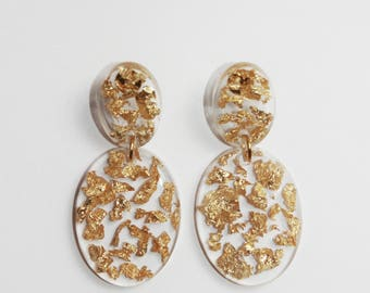 Gild's Gold Flakes, Eco Resin - Gold Oval Earrings
