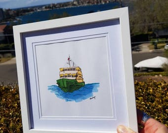 FERRYMAN -  Print of Original artwork of Manly Ferry. Coloured illustration/drawing of the iconic boat!