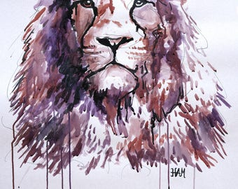 Lion drawing in ink