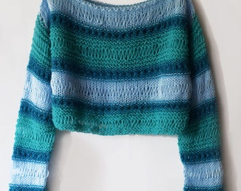 Turquoise sweater handmade Light blue jumper Pullover knitwear wool bolero colorful
