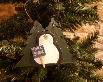 Penguin Christmas Tree Ornament, Think Snow Ornament, Penguin Evergreen trees