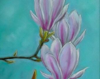 Magnolia Original Pastel Painting