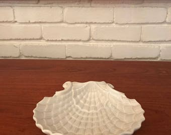 White Ceramic Coastal Chic Shell Bowl