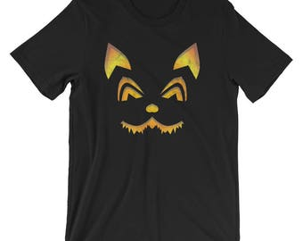 Scary Evil Cat Face Shirt Halloween UNISEX T-Shirt for Cat Lover