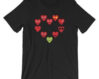 Heart Emojis Shirt Love Emoji T-Shirt Unisex Emoji Tee Shirt Valentines Day Gift