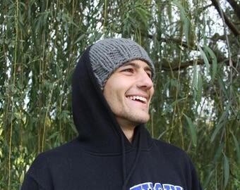 Handknit gray hat