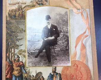 Victorian chromolithographic photograph mount depicting events from British history.