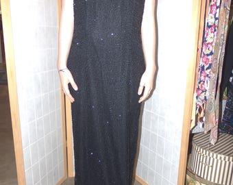 Laurence Kazar Black beaded silk evening gown