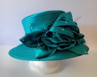 Braid Hat W/ Flower and Stone