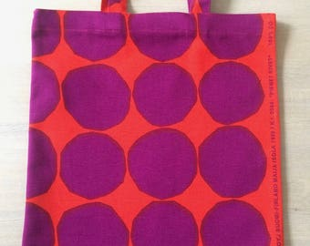 New Handmade Cotton Shopping Tote Bag, Canvas Shopper, Durable Tote Bag, Made of Orange and Purple Marimekko Kivet Fabric Finland