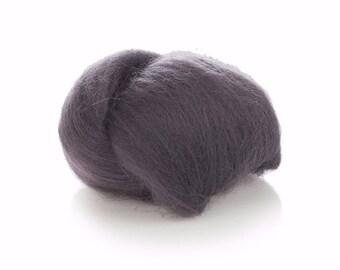Dark Gray Wool Roving - 24 Microns Merino Wool Roving - Felting Wool Grey - Wool for Spinning - Soft Wool Roving - Needle Felting Grey Wool