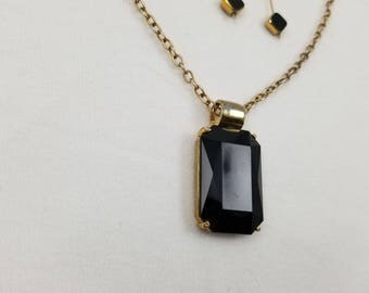 Gold Tone and Faux Onyx Black Crystal Necklace & Clip-on Earring Set