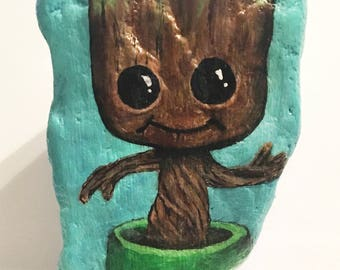hand painted Baby Groot rock from guardians of the galaxy