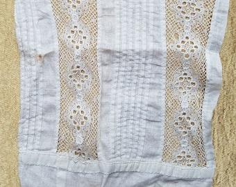 Antique Pintucks Lace Remnant Salvage Petticoat Cutter Fabric Primitive Sew A40