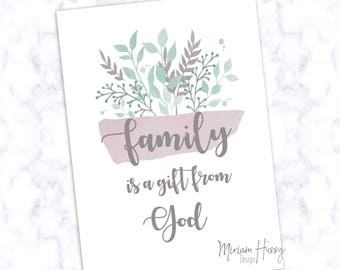 """Poster A4 """"Family a gift from God"""""""