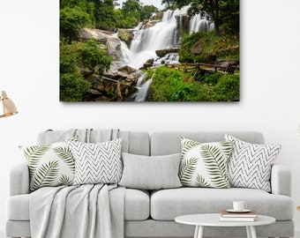 Thailand Waterfall Canvas Print // Large Canvas Wrap, Nature Photography, Asia Decor Wall Art, Fine Art Photo, Mae Klang Falls Home Decor