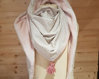 Adult scarf pink, beige scarf, Snood fleece, cotton feather print