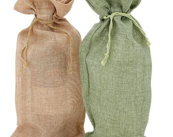 Burlap Wine Bags Set of 10