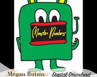 Monster Numbers Coloring Book Digital Download