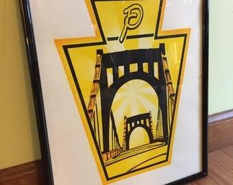 "Andy Warhol Bridge Art Print, hand made silkscreen print on paper, 11""X14"", Pittsburgh art"