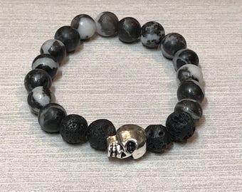 Silver Skull Bracelet, skull bead bracelet, skull jewlery, diffuser bracelet, diffuser jewelry, silver skull stretch bracelet, oil bracelet