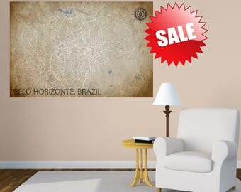 BELO HORIZONTE Canvas, Brazil poster, Brasil, Belo Horizonte map, art Poster, map CANVAS, Map Brazil, Poster City Map, Art Print, Home Decor
