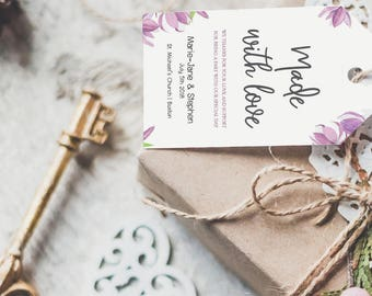Violet Floral Personalized Wedding Favors Tags Printable (Size L), Wedding Tags Template, Watercolor gift tags, Editable Wedding favors Tags
