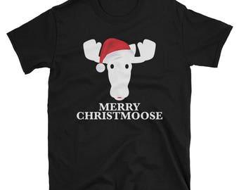 Christmas Pajama Shirt - ChristMoose Santa Hat T-Shirt