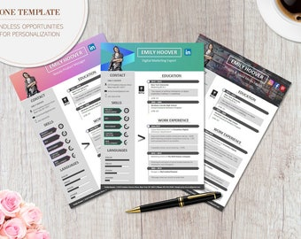 Modern Resume Template - CREATIVE - Professional CV Template for Word (A4 Format)  *fully customizable*